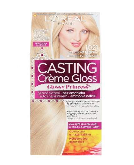 L´Oréal Paris Casting Creme Gloss Glossy Princess Farba do włosów 1szt 1021 Coconut Baby