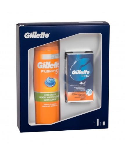 Gillette Fusion 5 Ultra Sensitive   Cooling Żel do golenia 200ml zestaw upominkowy