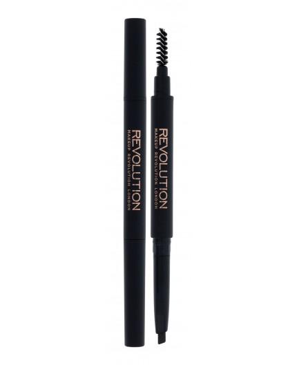 Makeup Revolution London Duo Brow Definer Kredka do brwi 0,15g Dark Brown